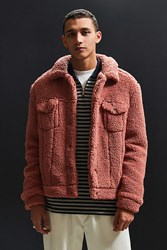 Urban Outfitters Uo Sherpa Exterior Trucker Jacket Pink