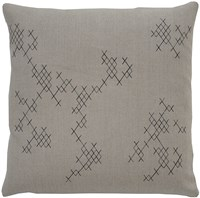 K Studio Exes Pillow Small 14 X 14 Hemp Black Stitch Gray