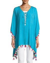 Bindya Lace Up Tunic With Tassels Blue