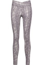 Yummie Tummie By Heather Thomson Hannah Printed Cotton Blend Jersey Leggings Grape