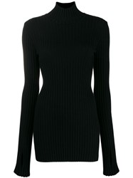 Paco Rabanne Ribbed High Neck Sweater Black
