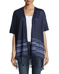 Neiman Marcus Fringe Trim Striped Open Cardigan Denim Heather