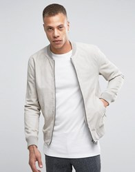 Selected Suede Stone Bomber Jacket Cream