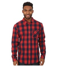 Quiksilver Motherfly Flannel Woven Top Motherfly Rosewood Men's Long Sleeve Button Up Red