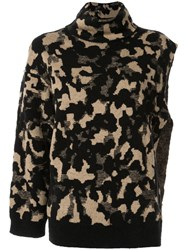 Ports 1961 Camouflage One Sleeve Sweater Black