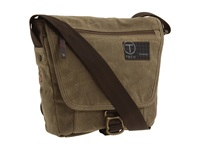 Tumi T Tech Icon Lewis Small Flap Cross Body Khaki Waxed Cotton Canvas Messenger Bags Taupe