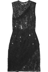 Carven Embroidered Organza Dress Black