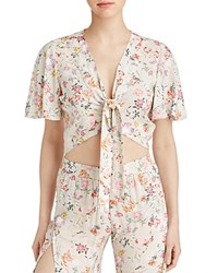 Yfb On The Road Rose Floral Tie Front Crop Top Garden Flower