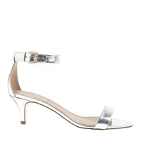 J.Crew Mirror Metallic Kitten Heel Sandals Metallic Silver
