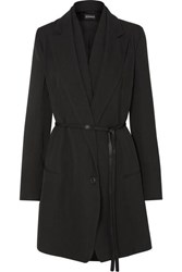 Ann Demeulemeester Layered Satin Trimmed Wool And Cotton Blend Coat Black