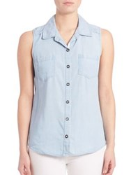Splendid Chambray Sleeveless Button Up Shirt Light Wash