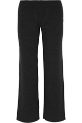 Theory Gosha Ribbed Stretch Wool Blend Wide Leg Pants Charcoal