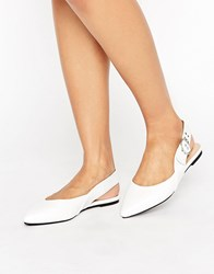 London Rebel Buckle Slingback Shoe White Pu Black