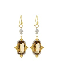 Jude Frances 18K Citrine And Pave Double Drop Earring Charms Gold Tan White Silver