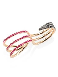 Melissa Kaye Cris Black And White Diamond Pink Sapphire And Ruby Reversible Two Finger Ring Rose Gold Multi
