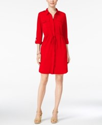 Ny Collection Petite Roll Tab Utility Shirtdress True Red
