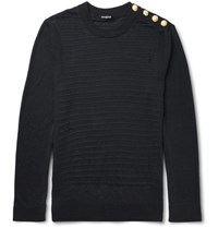 Balmain Slim Fit Distressed Ribbed Linen Sweater Navy