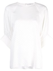 Tibi Pin Dot Shirred Sleeve T Shirt White