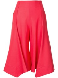 Eudon Choi High Rise Cropped Trousers Red