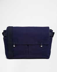 Jack Wills Enbrook Canvas Satchel With Leather Trims Blue