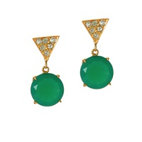 Alexandra Alberta Twiggy Chalcedony Earrings Gold Green