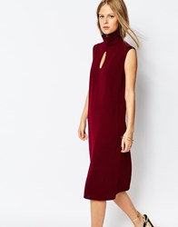 The Laden Showroom X Re Dream Turtleneck Midi Dress With Keyhole Wine