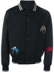 Lanvin Spider Embroidery Baseball Jacket Black