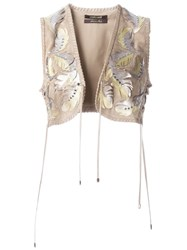 Roberto Cavalli Metallic Embellished Leaves Waistcoat Nude And Neutrals