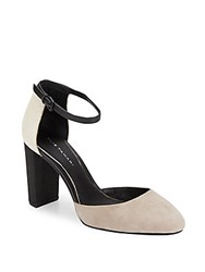 Elie Tahari Essex Suede And Snake Embossed Leather Ankle Strap D'orsay Pumps Taupe Black
