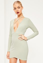 Missguided Green Tie Neck Plunge Long Sleeve Bodycon Dress