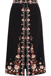 Vilshenko Claire Embroidered Crepe Skirt Black