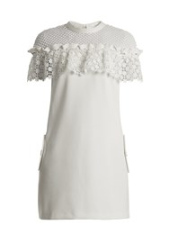 Self Portrait Floral Lace Cape Sleeved Mini Dress White