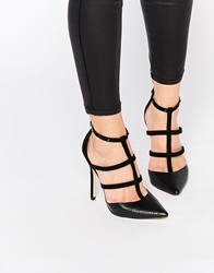 Lipsy Cora Caged Heeled Shoes Black