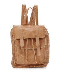 Day And Mood Clive Leather Flap Backpack Camel