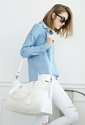Forever 21 Faux Leather Weekender Bag Cream