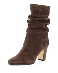 Manolo Blahnik Knight Slouchy Suede Boot Brown