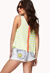 Forever 21 Zip Back Striped Tank Cream Neon Yellow