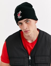Mitchell And Ness Miami Heat Team Logo Cuff Beanie In Black