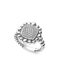 Lagos Sterling Silver Extra Large Caviar Spark Ring With Diamonds 0.41 Tdcw