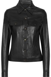 The Row Coltra Bonded Stretch Leather Jacket Black