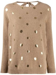 Piazza Sempione Metallic Dot Jumper Brown