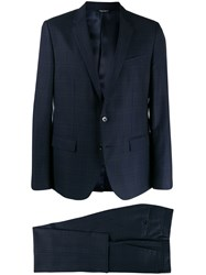Dolce And Gabbana Checked Single Breasted Suit Blue