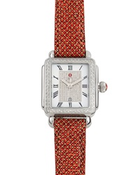 Michele Deco Pave Diamond Sequin Strap Watch Red Gold