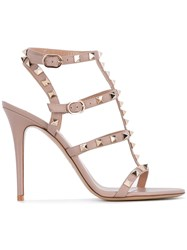 Valentino Garavani Rockstud Sandals Women Leather 39.5 Pink Purple
