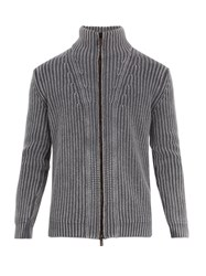 Iris Von Arnim High Neck Zip Through Cardigan Grey