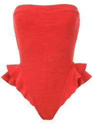 Clube Bossa Ruffled Barres Swimsuit Red