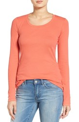 Caslonr Women's Caslon 'Melody' Long Sleeve Scoop Neck Tee Coral Spice