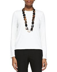 Eileen Fisher Long Sleeve Crewneck Tee Petite White