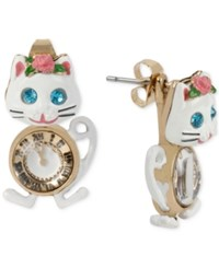 Betsey Johnson Gold Tone Crystal Cat And Clock Stud Earrings
