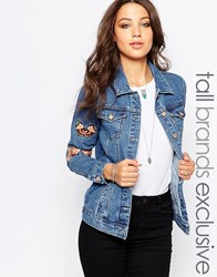 Glamorous Tall Denim Jacket With Butterfly And Floral Embroidery Blue